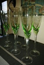 """Set of 7 Hand Blown Rosenthal ? Green Bowl Glass Tulip Champagne Flutes 9"""" MINT"""