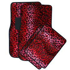 Car Auto Floor Mats for Ford Mustang Red Safari Leopard Animal Print Carpet