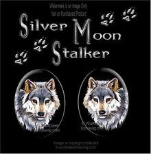 Silver Moon Stalker Wolf Earrings - Wolves Wildlife Art Post Pierced Free Ship'
