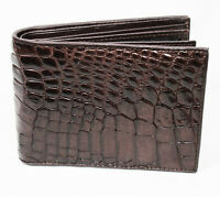 Brown Alligator Crocodile Genuine Leather Skin Men Bi-fold Credit Card Wallet.