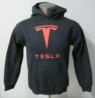 Mens Gildan Tesla Motor Black Hooded Hoodie Sweatshirt Size Small S Pullover