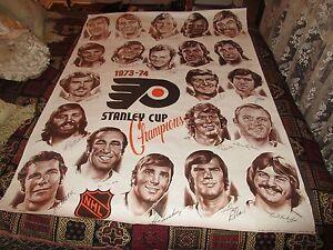 "Philadelphia Flyers , Stanley Cup Champions , 37 1/2"" X 48"" , 1973-74 , Vintage"
