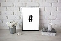A4 Typography gift Poster Print Picture Wall Art Hashtag #