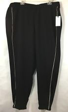 JASMINE & JULIANA Womens Sz 18W Black Wide Stripe Elastic Waist Jogger NWT