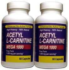 Mega Acetyl L-carnitine 1000mg (Twin Pack) - 60 Capsules Each Pharm Grade