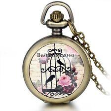Antique Birdcage Bird Flower Quartz Pocket Watch Steampunk Necklace Pendant