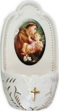 SAINT ANTHONY PORCELAIN HOLY WATER FONT - STATUES CANDLES PICTURES ALSO LISTED