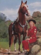 """"""" WESTERN  BEAUTIES """" 1952  WESTERN cowgirl &  PALOMINO   litho  picture"""