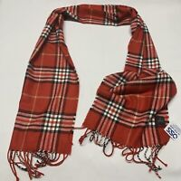 V. Fraas Women's Scarf Plaid Red White Black Soft Pretty NWT 100%  Polyester
