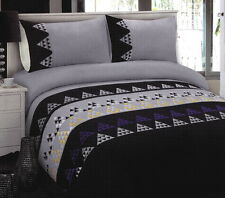 Black GREY Embroidered King Quilt Cover Set GEOMETRIC Poly-Cotton Doona Duvet