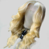 8-24inch 100% Remy European Human Hair Wig Blonde Body Wavy Lace Front Wigs Soft