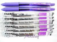 Pentel BL-107 Energel 0.7mm Fine 2 Roller Ball Pens + 6 Refills, VIOLET