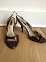 NEW Nine West Women's Peep Toe Slingback Pumps Sandals Size 9.5 Brown Bronze