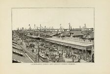 1881= OLD NEW YORK = LIBERTY STREET FERRY = Old Rare Engraving
