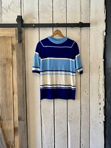 Vintage 60s Blue White Stripe Mid Century Sweater Knit Shirt by The Treasury M