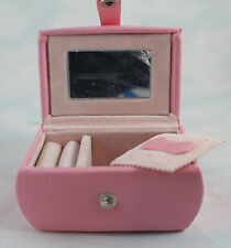 """Jewelry Travel Case Pink Hard Shell Velvet Lined 3-1/2 X 2-1/4x2"""" Oval w/ Mirror"""