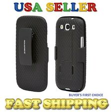 Holster Case for Galaxy SIII, s3, s 3 - Black with kickstand and belt clip