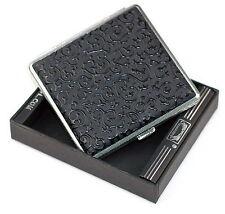 Black Leather Cigarette Case Box Hold For 20 Cigarettes 30069