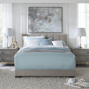 Reece Channel Stitched Upholstered Full Bed, Platinum Grey, by Hillsdale Living