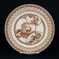 """J Dimmock Warwick Brown Luncheon Plate, Antique England Aesthetic Stag 9 1/4"""""""