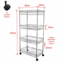 Real Chrome Shelf 124 x 60 x 35 cm Wire Rack Metal Steel Kitchen Racks Caster
