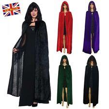 Gothic Hooded Velvet Cloak Robe Medieval Witchcraft Cape Halloween Women Costume