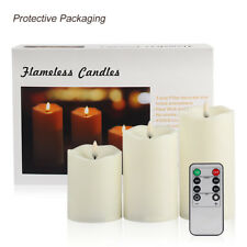 Flameless Candles Set of 3 Plastic Pillars Realistic Dancing LED Flames Remote