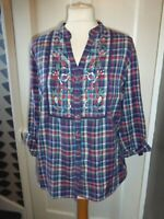 PER UNA UK 14 FLORAL EMBROIDERED CHECK LONG SLEEVE BLOUSE/SMOCK