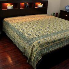 Elephant Block Print Batik Floral Tapestry Wall Hanging Spread Cotton Full Green