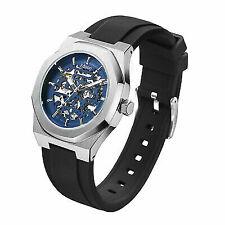 Men's Edison Roadster Automatic Watch Silver Colour Hexagon Case Blue Dia