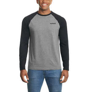 Hurley Men's Raglan Embroidered Logo Long Sleeve Tee T-Shirt