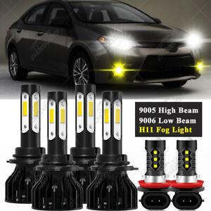 Yellow Fog Light +White Headlight Kit High Low Beam For Toyota Corolla 2009-2013