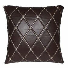pj08a Brown Diamond Soft Faux Leather Skin Emborider Foam Backing Cushion Cover