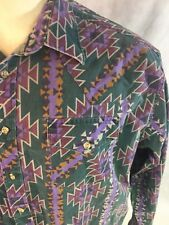 Vintage Aztec Print Saddlebrook Western Shirt Size XL Hipster Indian Cowboy USA