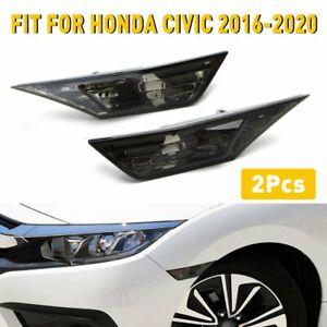 For 2016- Honda Civic 10th Gen Switchback LED Side Marker Turn Signal Lamp Smoke