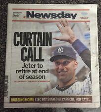 NY Newsday Feb 13,2014 Derek Jeter Announces 2014 Will Be His Last Season