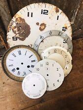 Antique Lot Clock Faces Dials Enamel Tin Watch Industrial Table 1800s 1940s