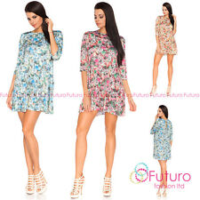 Casual Women's Mini Dress Floral Pattern 3/4 Sleeve Boat Neck Sizes 8-12 FA394