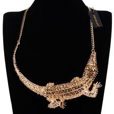 Fashion Collar Gold Crocodile Alligator Chain Statement Pendant Bib Necklace