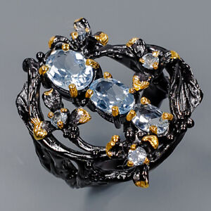 Blue Topaz Ring Silver 925 Sterling Gemstone jewelry SET Size 8.5 /R145241