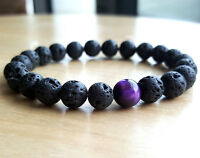 Fashion Mens Lava Rock Tigers Eye Mala Beads Energy Yoga Beaded Bracelet Jewelry
