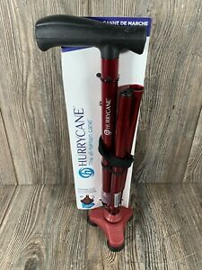 HurryCane All Terrains Folding Walking Cane with T Handle Roadrunner Red New
