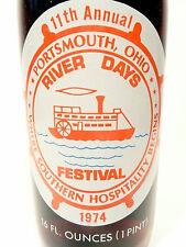 vintage ACL Soda POP Bottle: ROYAL CROWN / 1974 PORTSMOUTH, OHIO  - 16 oz FULL