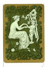 """Single Vintage Old Wide Playing Card """"Grecian Lady w/Cherub"""" Grn w/Gold Border"""