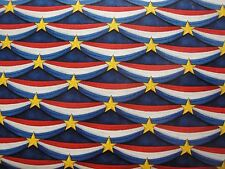Patriotic Bunting on Navy B/G-Red, White & Blue-Quilts of Valor-American BTY
