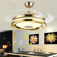 42inch Ceiling Fan Light Dimmable LED Chandelier Bluetooth Remote Control Lamp