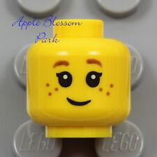 NEW Lego Child MINIFIG HEAD -Female Girl Kid Freckles Smile & Brown Eyebrow Hair