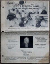 General Electric 1946 Photolamp Data Sheet Foldopen Photo Flash Flood Reflector