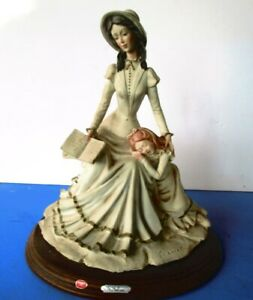 Vintage statue A. Belcari capodimonte Porcelain Figurine Woman with Girl Signed