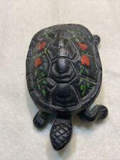 Vintage Wilton Cast Iron Hand Painted Turtle Match Safe / Trinket Box